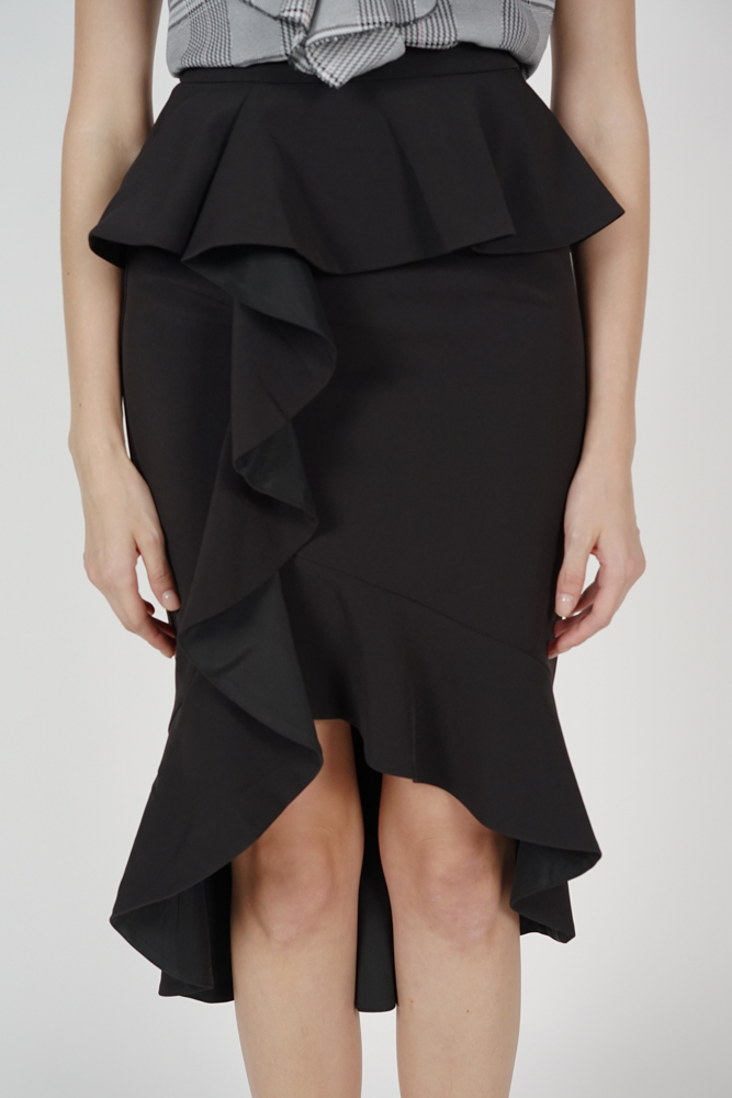 Leora Ruffled Skirt in Black