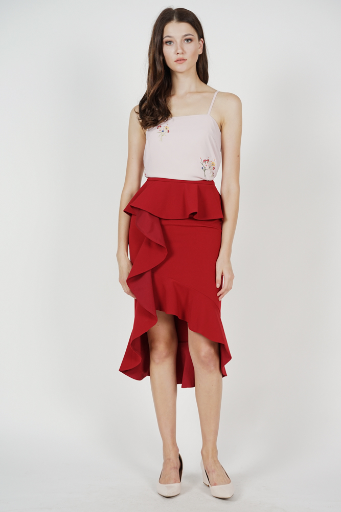 Leora Ruffled Skirt in Maroon