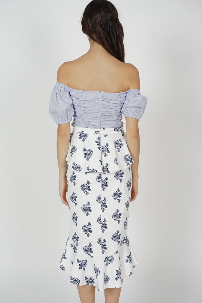Leora Ruffled Skirt in White Floral
