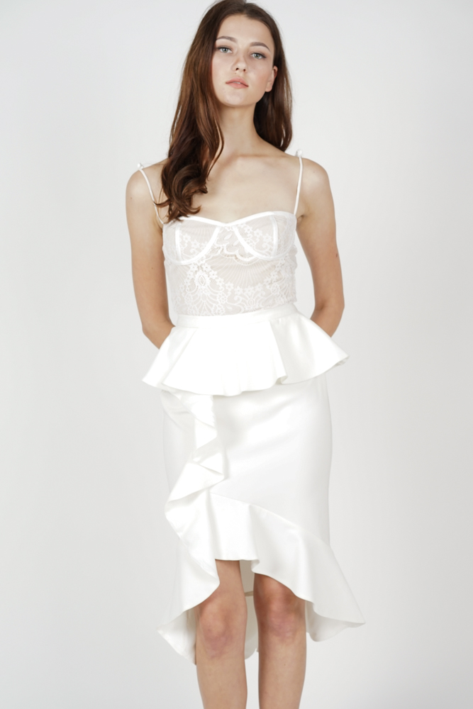 Leora Ruffled Skirt in White