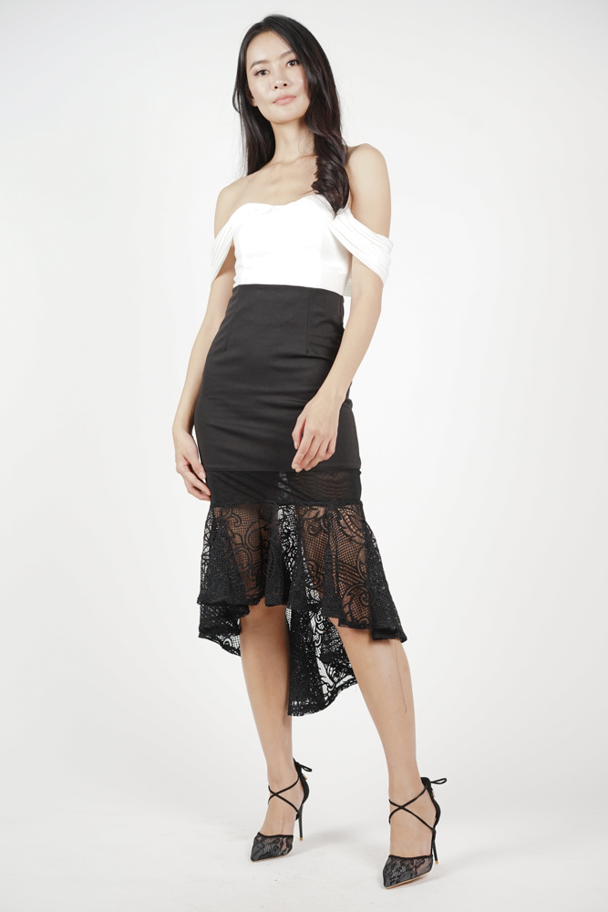 Apolla Ruffled-Hem Skirt in Black