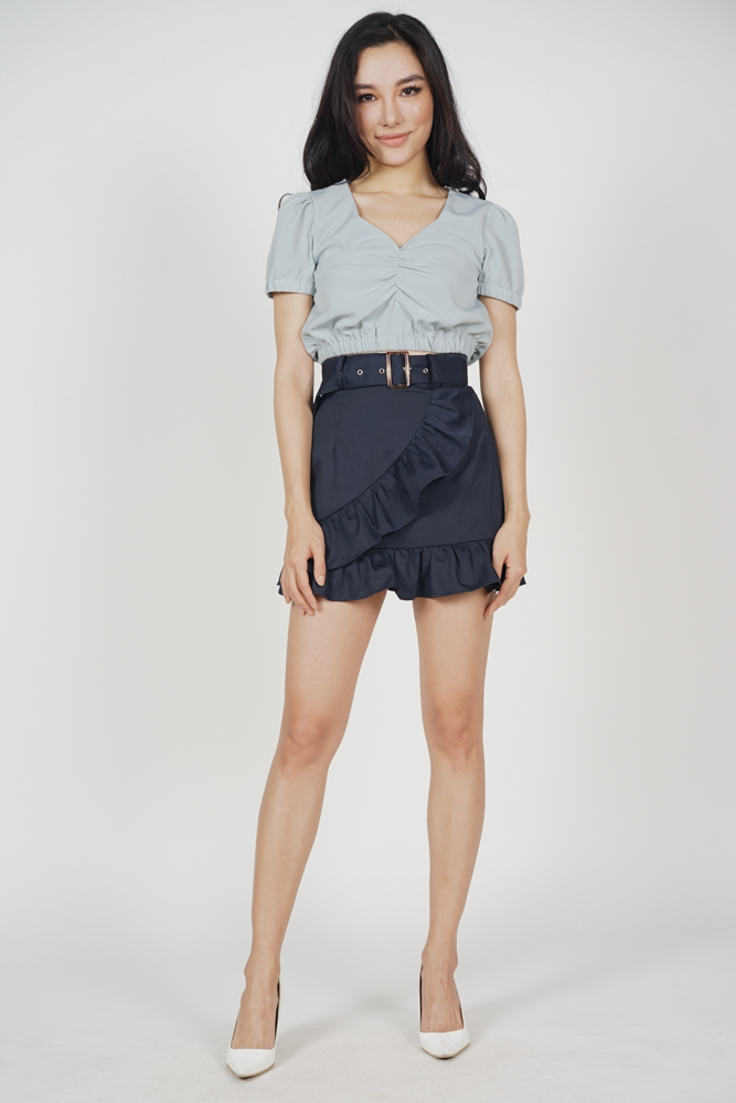 Chica Ruffled Mini Skirt in Midnight - Arriving Soon