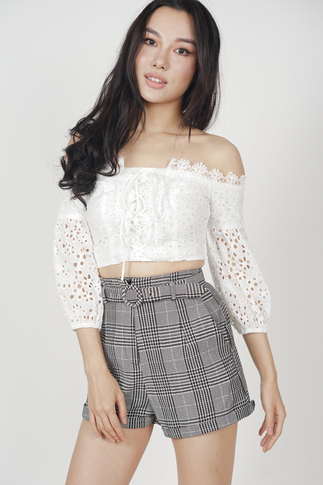 Malva Buckled Shorts in Houndstooth Checks