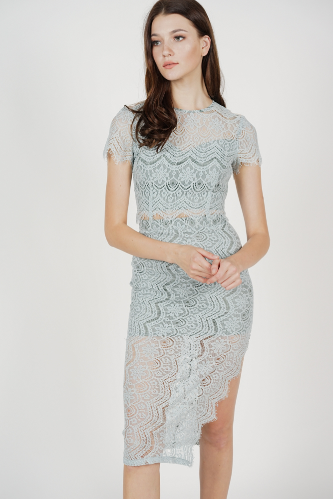 Dorcia Lace Skirt in Ash Blue - Arriving Soon