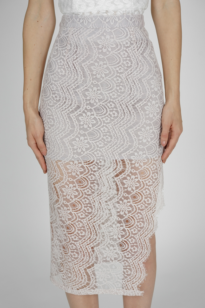 Dorcia Lace Skirt in Grey - Arriving Soon
