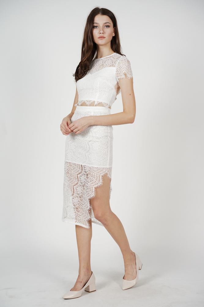 Dorcia Lace Skirt in White