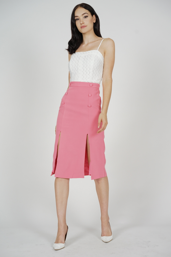 Soshie Slit Skirt in Pink