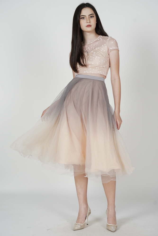 Luna Ombre Tulle Skirt in Grey Pink - Arriving Soon