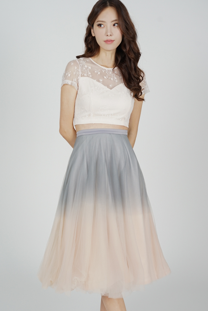 Ombre Tulle Skirt in Grey Pink