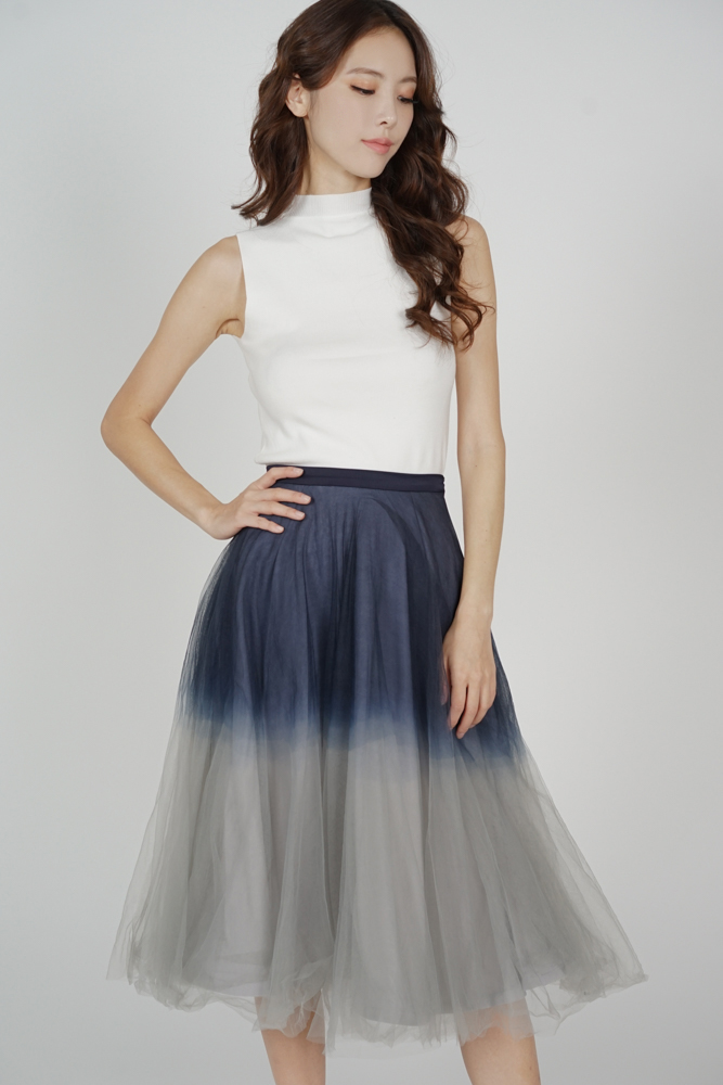 Ombre Tulle Skirt in Midnight Grey