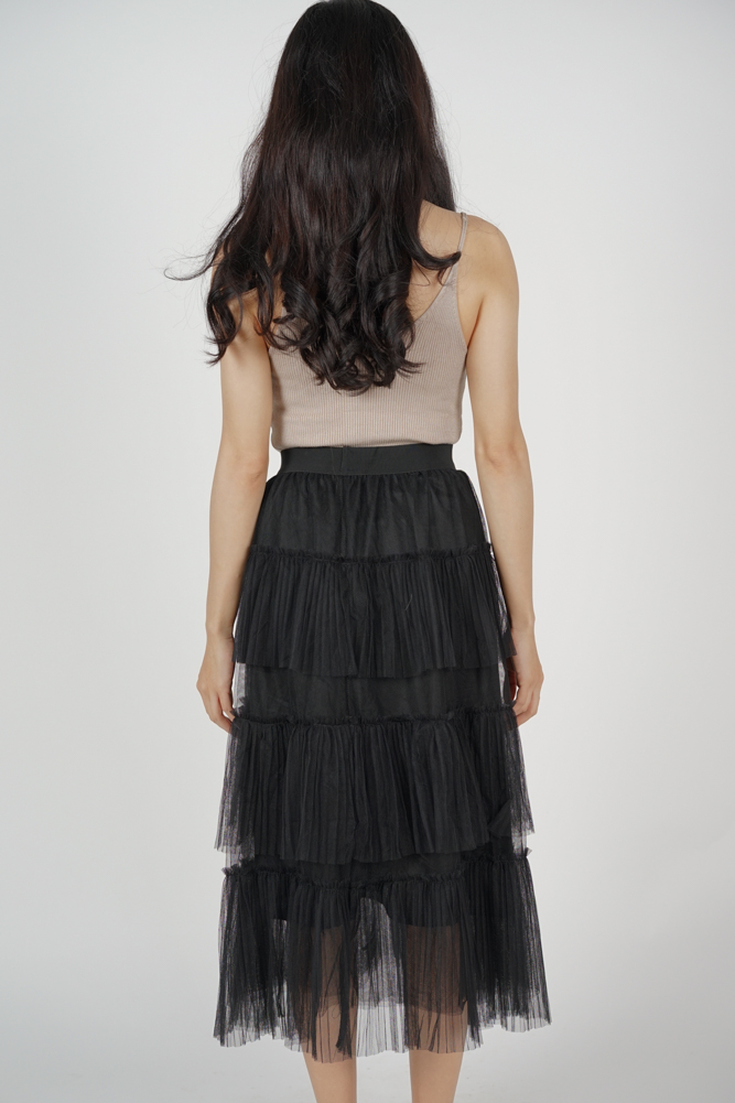 Lacie Tiered Pleated Skirt in Black - Online Exclusive