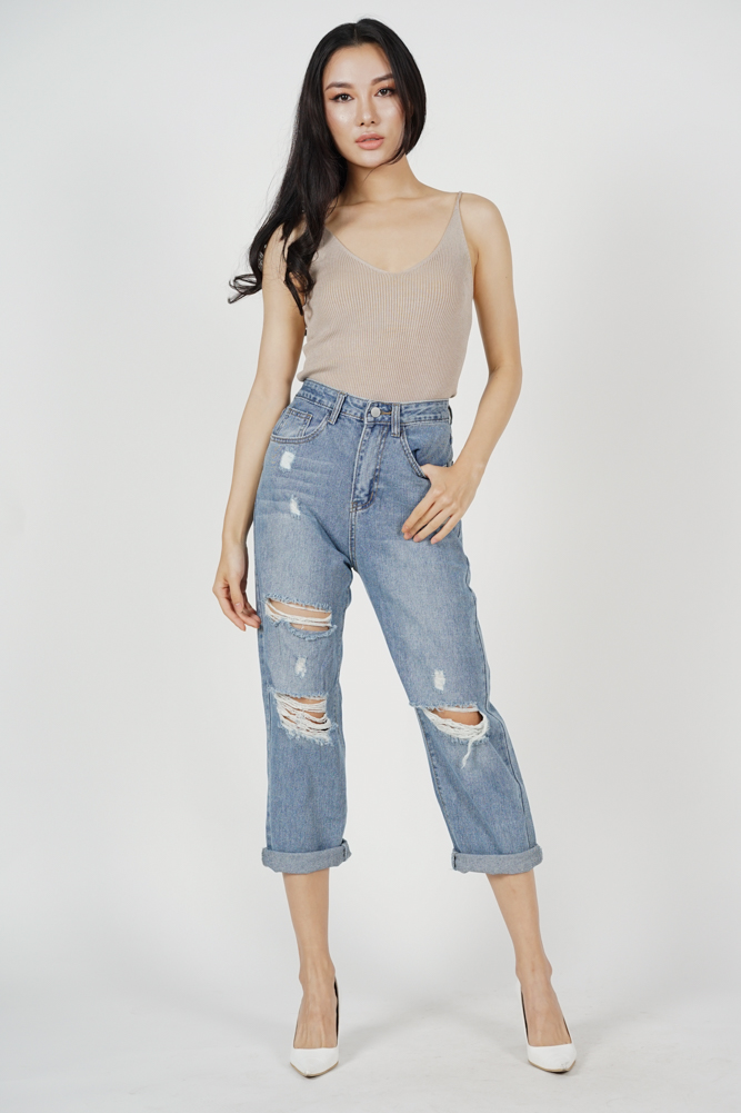 Cybele Ripped Jeans in Blue Denim