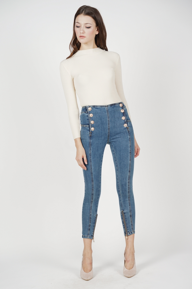 Debbie Buttoned Jeans in Blue Denim - Online Exclusive