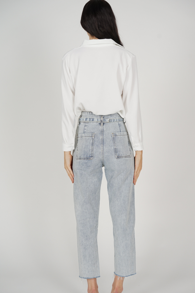 Kalen Buckled Jeans in Blue Denim