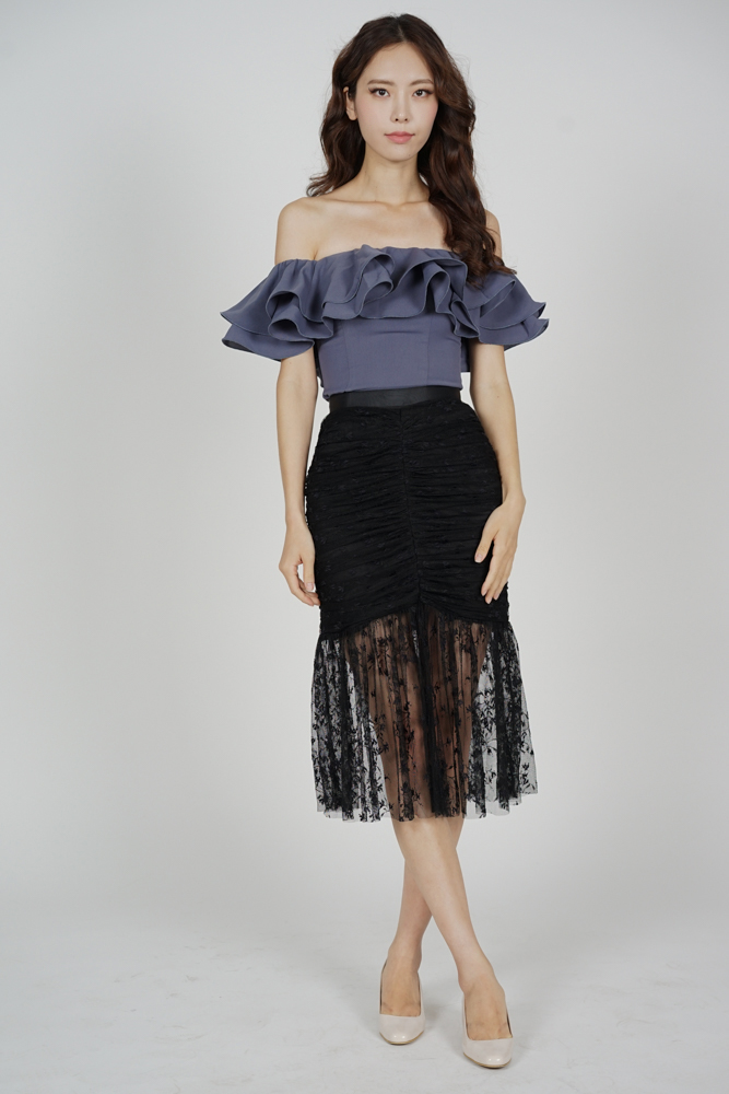Freja Ruched Skirt in Black