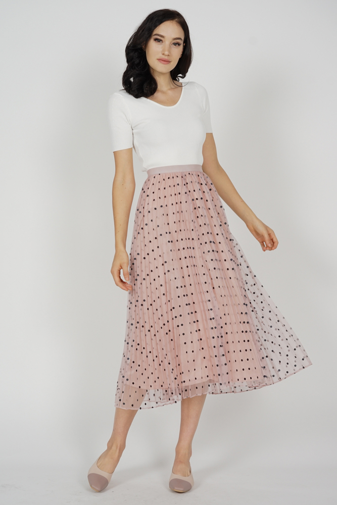 Hazleen Pleated Skirt in Pink Polka Dots - Arriving Soon