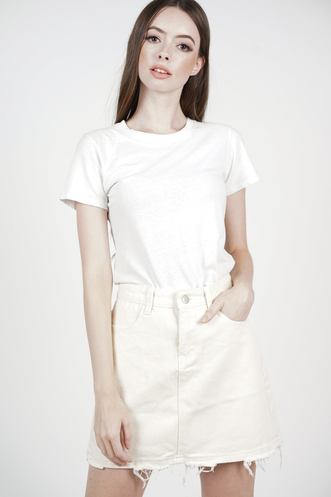 Leah Fray-Hem Skirt in White - Online Exclusive