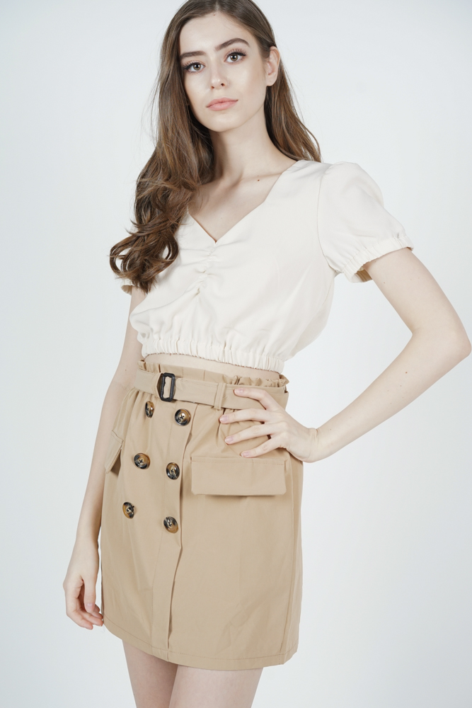 Luara Mini Trench Skirt in Khaki - Online Exclusive