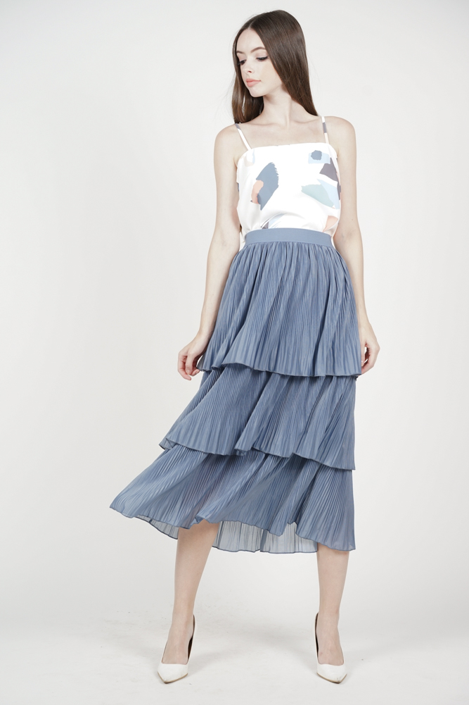 Linette Tiered Skirt in Ash Blue - Online Exclusive