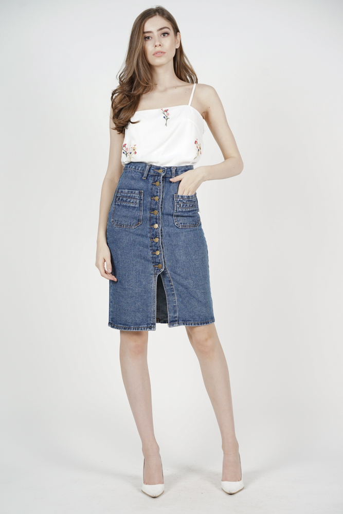 Caesar Denim Skirt in Blue - Arriving Soon