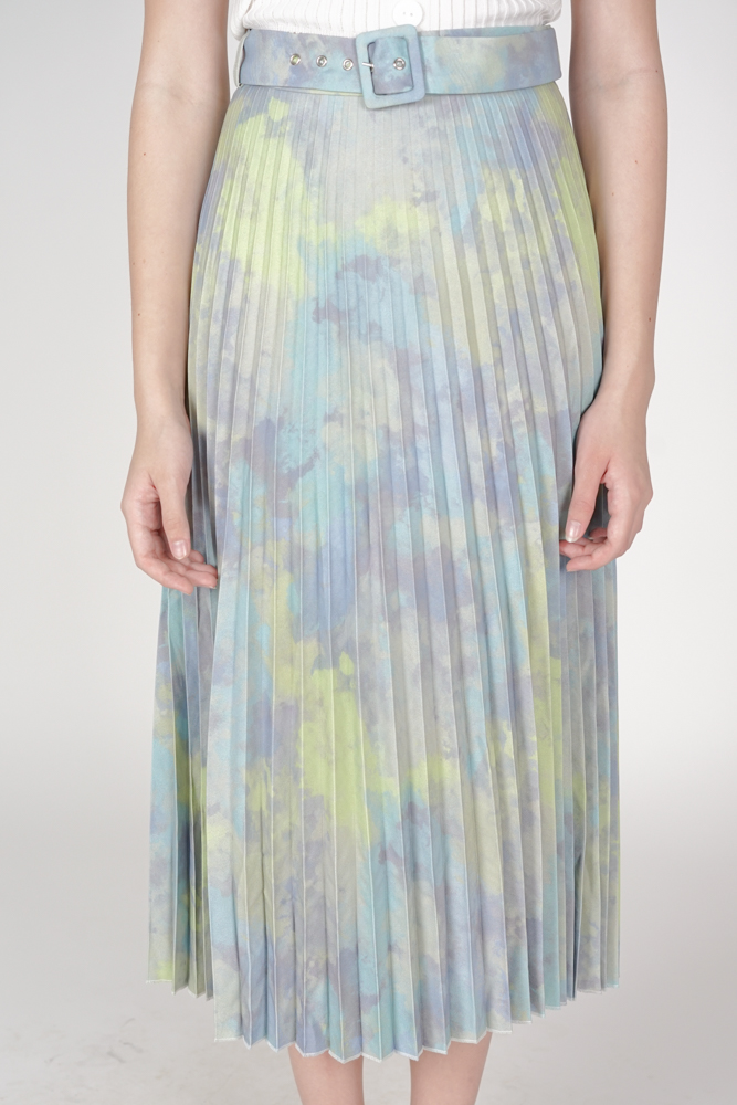 Cairis Pleated Skirt in Green Blue - Arriving Soon