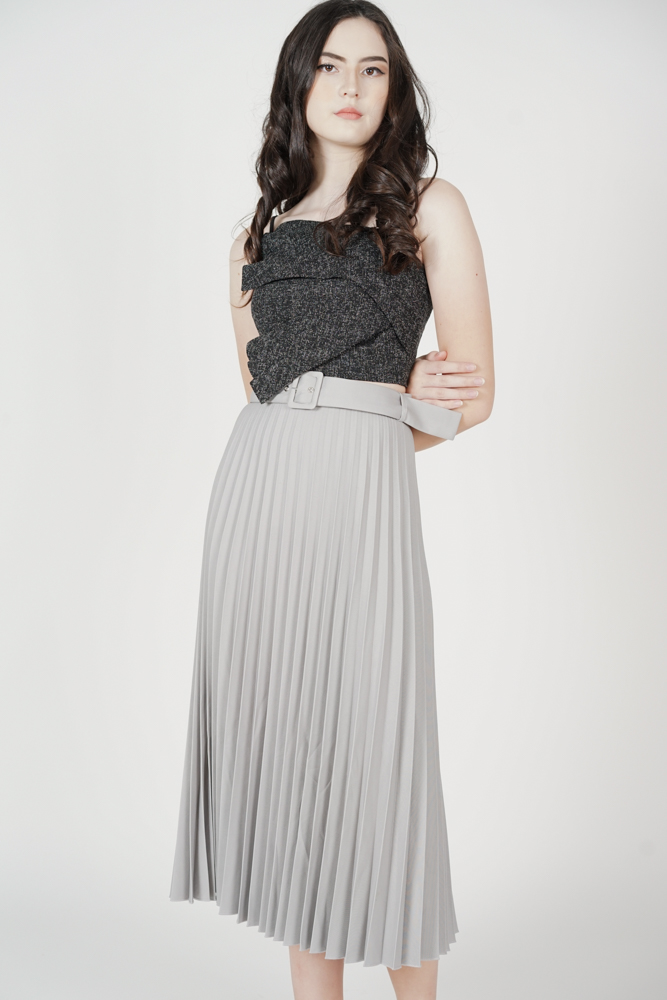 Cairis Pleated Skirt in Grey - Arriving Soon