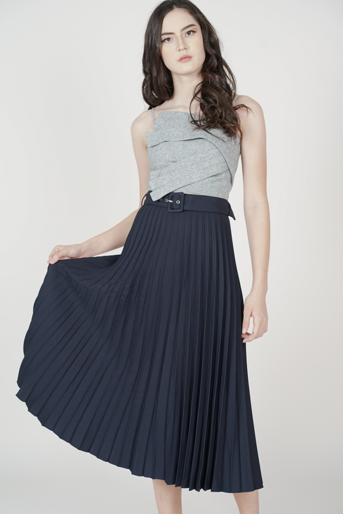 Cairis Pleated Skirt in Midnight - Arriving Soon