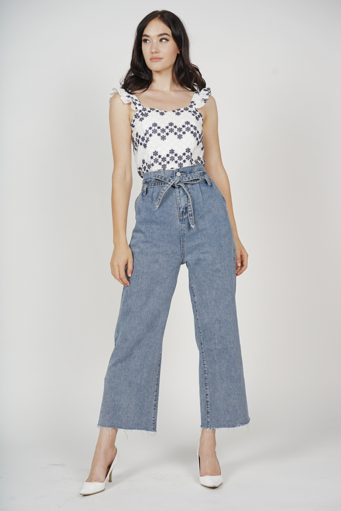 Rio Wide Leg Pants in Blue Denim - Online Exclusive