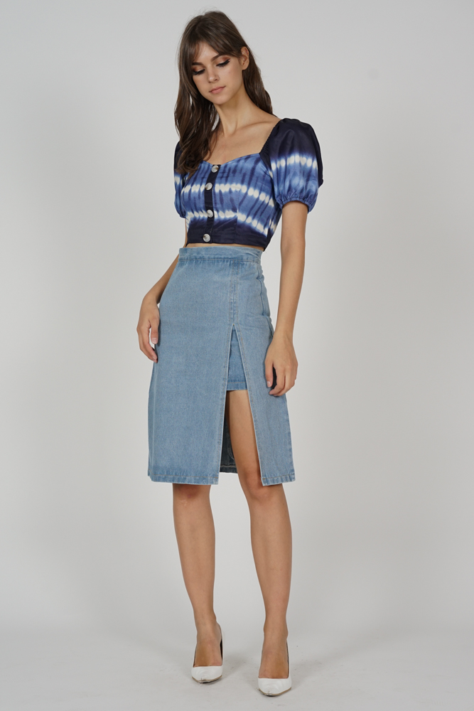 Wenda Denim Slit Skirt in Light Blue - Online Exclusive