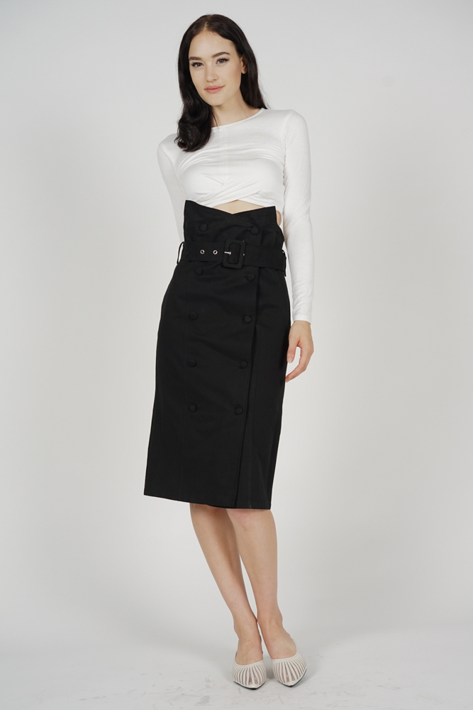 Rekna Buckled Skirt in Black - Online Exclusive