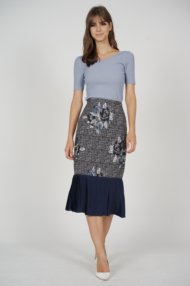Elkra Pleated-Hem Skirt in Black - Arriving Soon