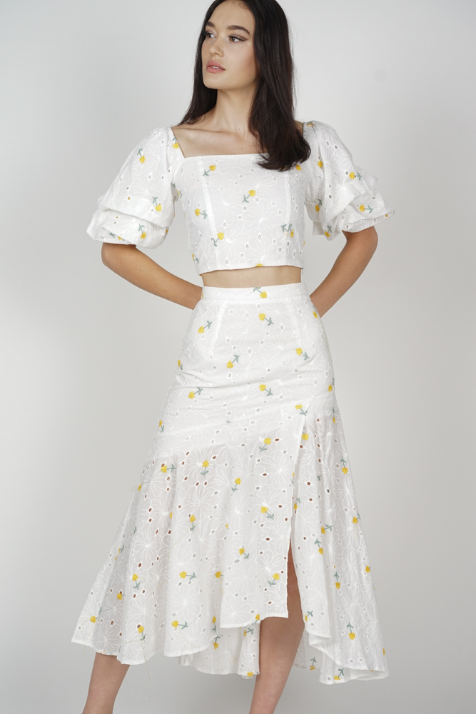 Ursa Asymmetrical Flare-Hem Skirt in Yellow Floral
