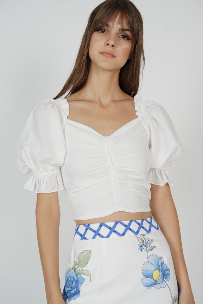 Maiyna Gathered Front Top in White