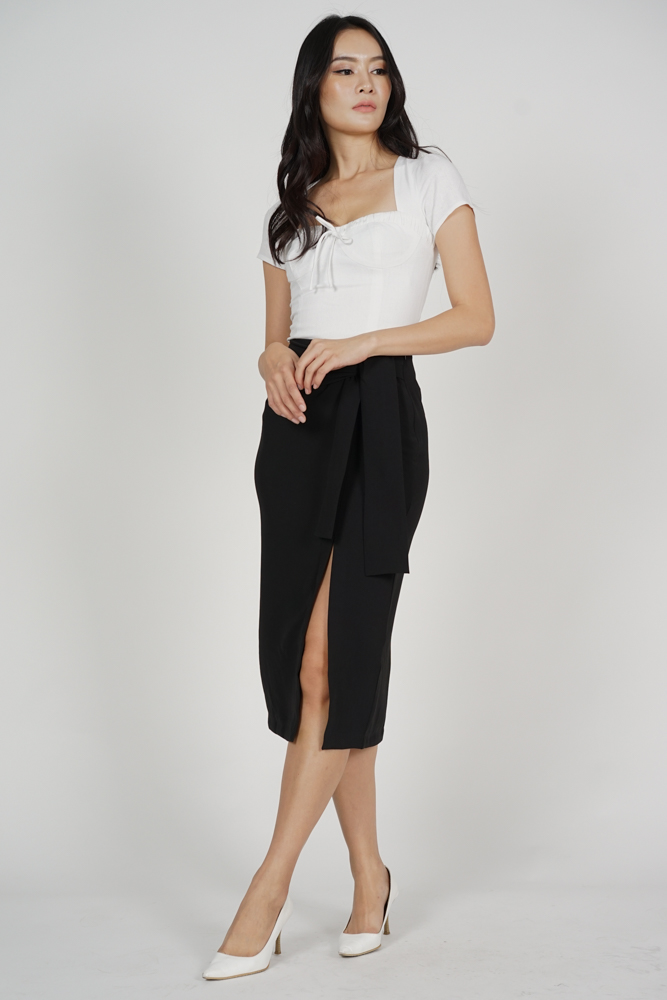 Ulva Slit Skirt in Black - Arriving Soon