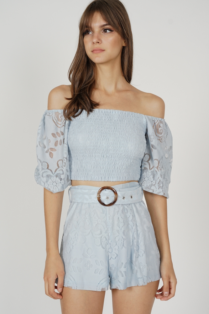 Tozlia Pleated Lace Shorts in Ash Blue - Arriving Soon