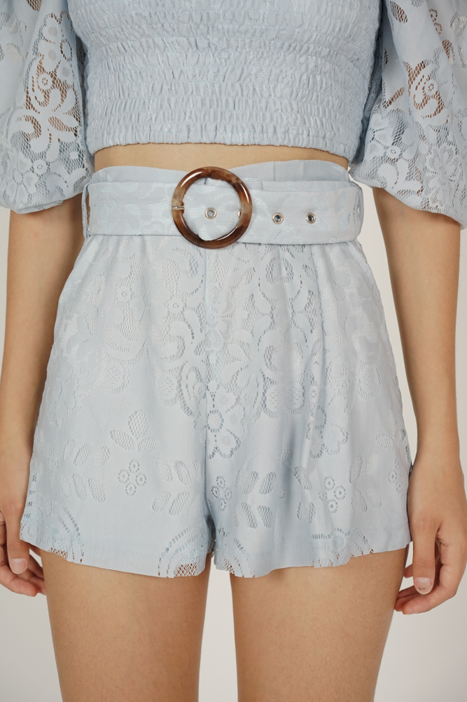 Tozlia Pleated Lace Shorts in Ash Blue
