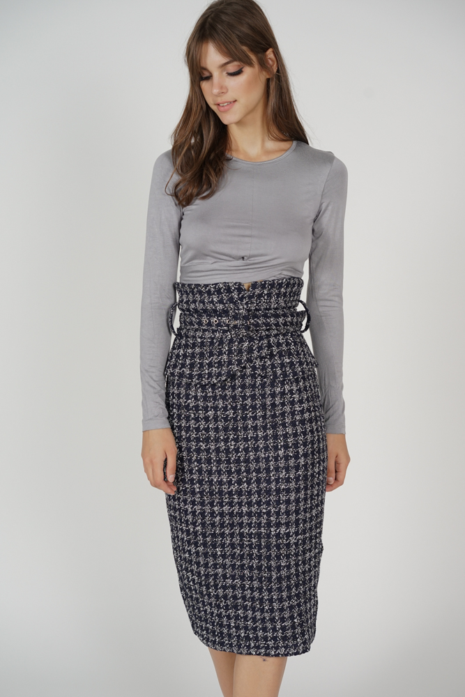 Arden Buckled Skirt in Midnight Tweed -