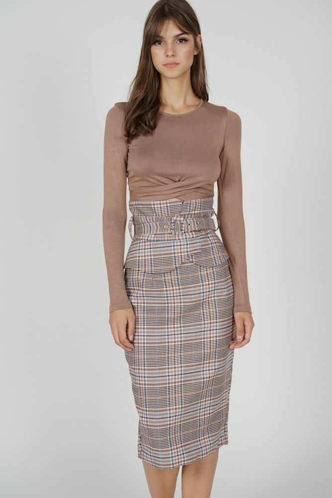 Arden Buckled Skirt in Brown Checks - Arriving Soon