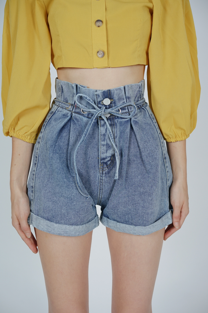 Boa Drawstring Denim Shorts in Blue - Online Exclusive