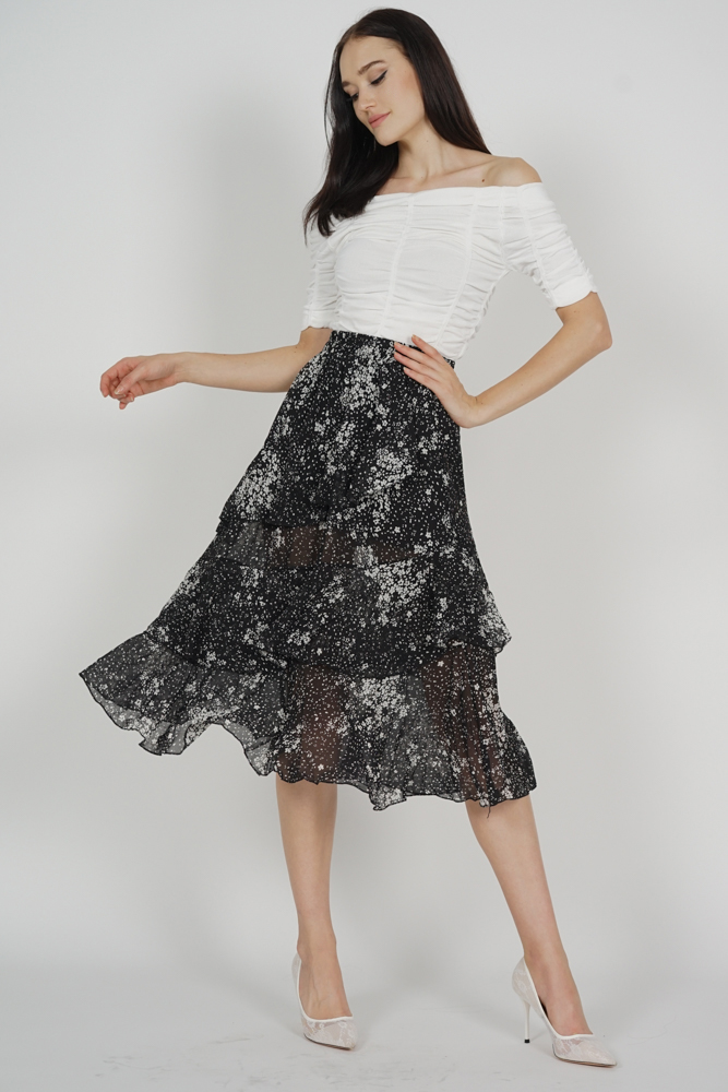 Nigel Ruffled Skirt in Black - Online Exclusive