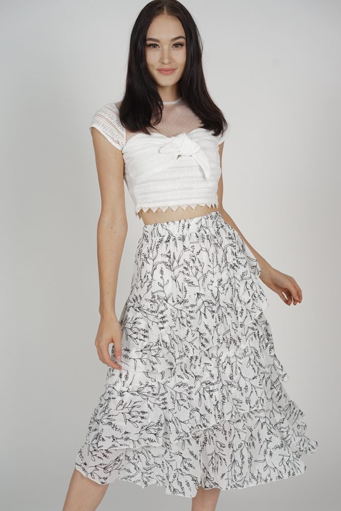 Wayne Ruffled Skirt in White - Online Exclusive
