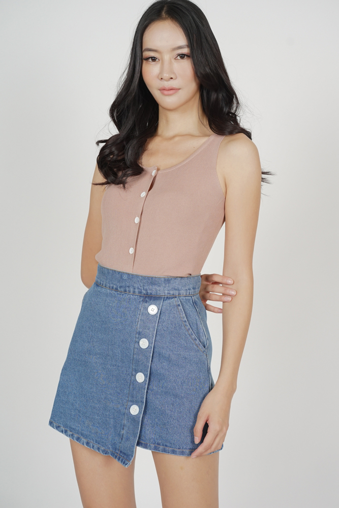 Hyula Buttoned Denim Skirt in Blue - Online Exclusive