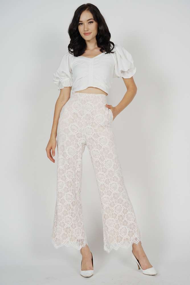 Adonas Lace Pants in White