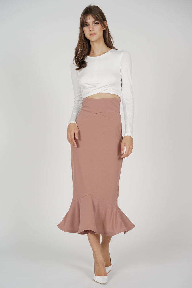 Abrie Flounce Mermaid Skirt in Pink