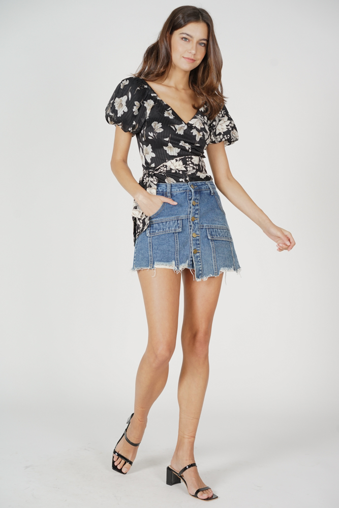 Lukas Buttoned Denim Skorts in Dark Blue - Arriving Soon