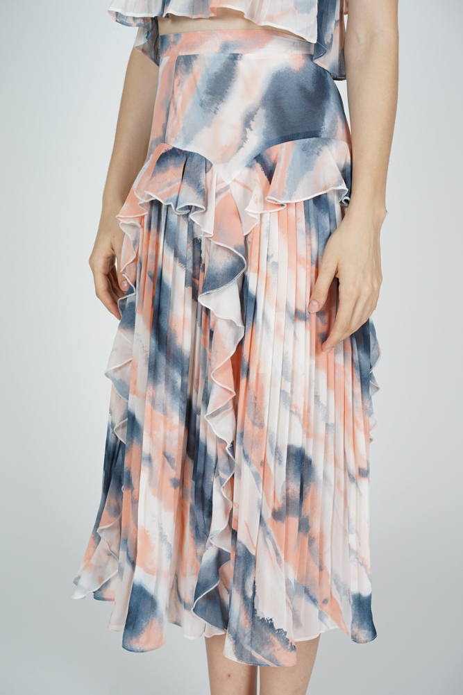Koni Pleated Skirt in Blue Pink