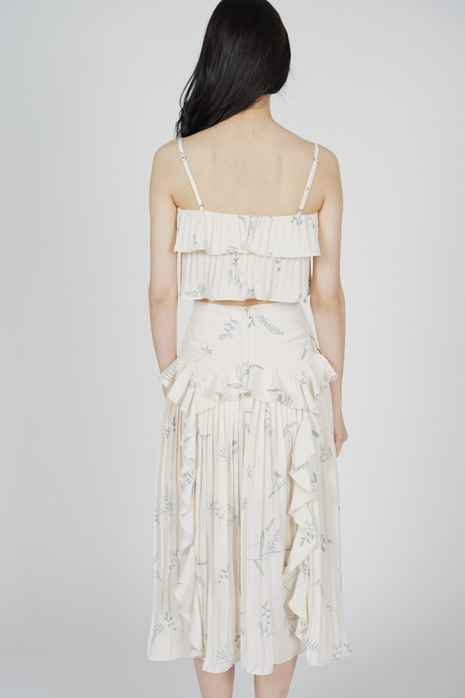 Koni Pleated Skirt in Cream Floral - Arriving Soon