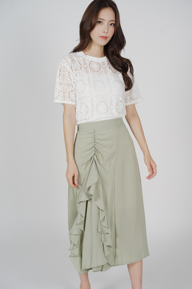 Maerin Ruffled Skirt in Mint - Online Exclusive