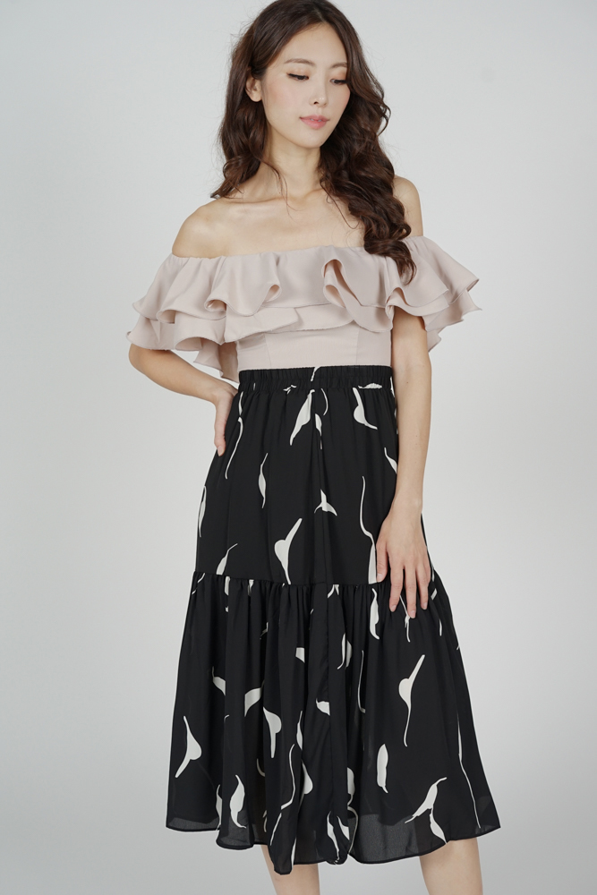 Liara Midi Skirt in Black Abstract - Online Exclusive