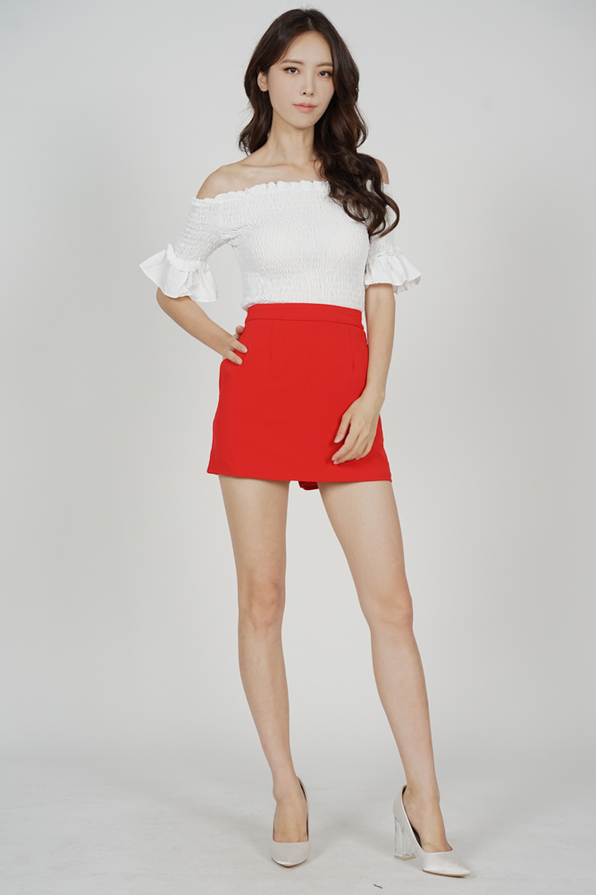 Oxna Mini Skorts in Red - Arriving Soon
